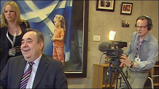 Scotland's First Minister Alex Salmond is filmed for the BBC's School Report