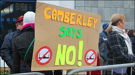 Protesters at Camberley Mosque meeting