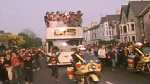 Newport County's Welsh Cup celebratory bus tour