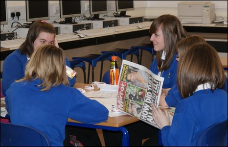 Five Rhosnesni High School pupils in Wrexham discussing BBC School Report News Day