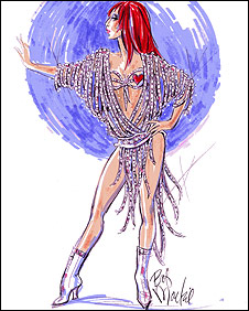 Design for a Cher costume by Bob Mackie