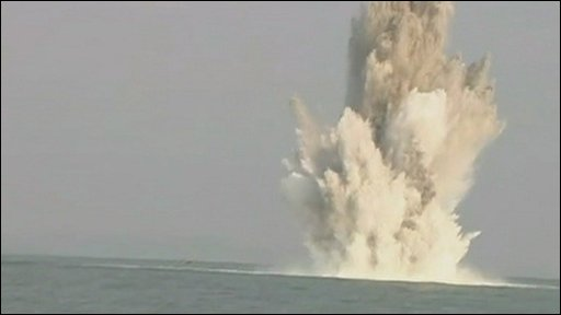 The mine exploding in Weymouth Bay