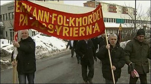 People gathered outside Swedish parliament to protest in favour of the resolution