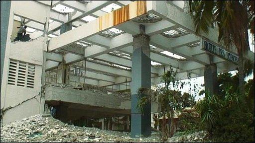 Destroyed building in Port-au-Prince