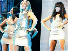 The sugababes performing at the AMAs