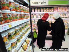 Muslim women in Paris supermarket