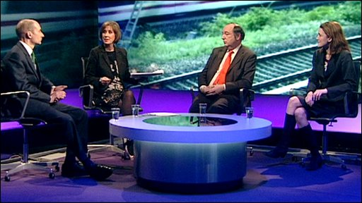 (left to right) Lord Adonis, Kirsty Wark, Norman Baker, Theresa Villiers