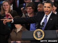 President Barack Obama delivers a speech on his health care plan on March 8, 2010 at Arcadia University in Glenside, near Philadelphia, Pennsylvania
