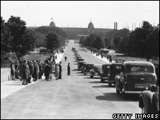 The first cars on Olympic Way, leading to Wembley Stadium