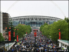 Fans on Wembley's Olympic Way, Cup Final day, 2008