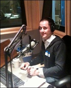 Twitter co-founder Evan Williams in a radio studio