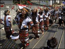 Mizo tribals perform bamboo dance in Aizawl