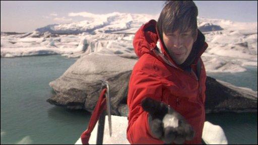 Professor Brian Cox on an Icelandic glacial lagoon