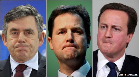 Brown, Clegg, Cameron