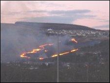 Grass fire at Penrhys