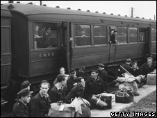 German PoWs by a train