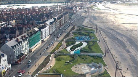A bird's eye view of Rhyl Promenade, courtesy Denbigshire Council