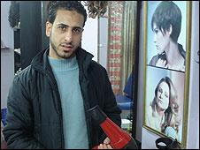 Mohammed, assistant in Gaza hairdresser