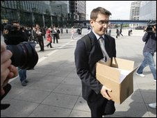 Lehman Brothers staff leaving London offices in Septermber 2008
