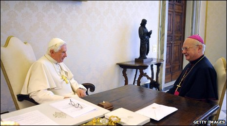 Pope Benedict (left) receives German Bishop Robert Zollitsch at the Vatican, 12 March