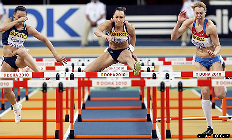 Jessica Ennis in the hurdles