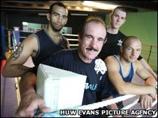 Coach Enzo Calzaghe with Bradley Pryce, Hari Miles and Gavin Rees