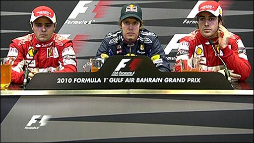 Post qualifying top three drivers