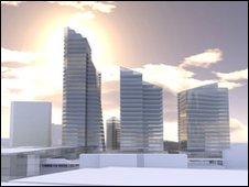 Artists impression of the Station Hill development adjacent to Reading railway station