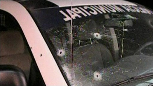 Shot police car