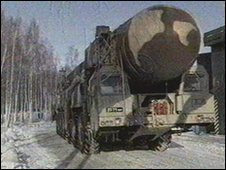 Russian missile on launcher - file image