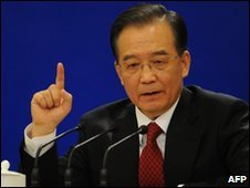 Chinese Premier Wen Jiabao takes a question at a news conference at the end of the NPC meeting - 14 March 2010