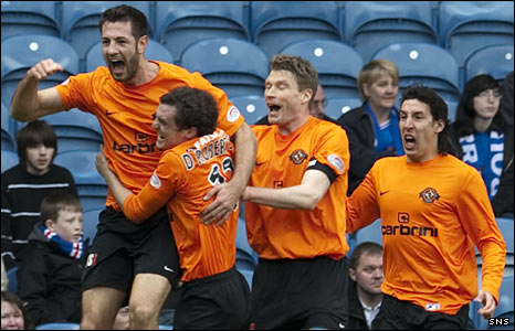 Dundee United players celebrate a goal against Rangers