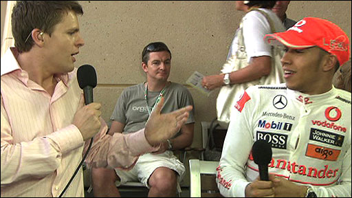 Lewis Hamilton is interviewed by Jake Humphrey