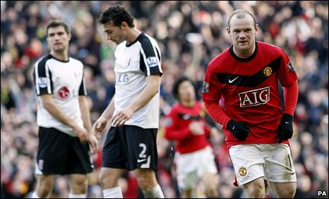 Wayne Rooney (right) scored twice against Fulham