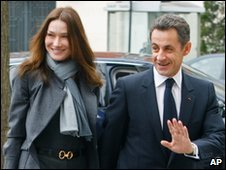 Nicolas Sarkozy and his wife Carla Bruni-Sarkozy in Paris, 14 March 2010