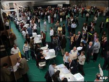 "People vote during during Colombia""s legislative elections"