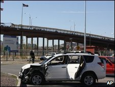 Crashed car of a US consulate employee and her husband in Ciudad Juarez on 14 March 2010