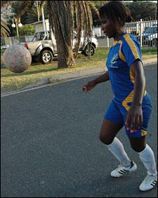 Nosipho Mabaso playing football