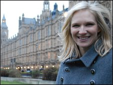 Jo Whiley outside Parliament