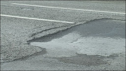Pothole on A52