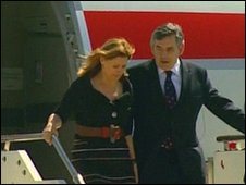 Gordon and Sarah Brown leaving a BA plane