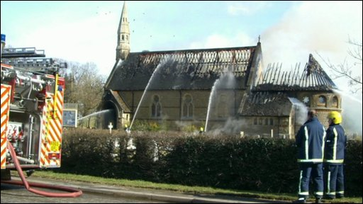 Fire at St Mary's Church, Westry