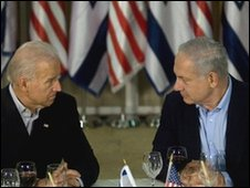 US Vice-President Joe Biden (left) and Israeli Prime Minister Benjamin Netanyahu (image from 09/03/10)