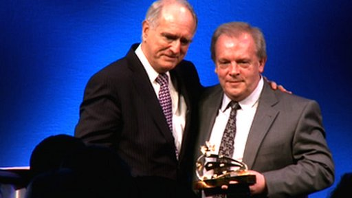 Lord Mawhinney presents Gordon Taylor with the Contribution to League Football award