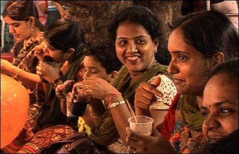 Indian women and children