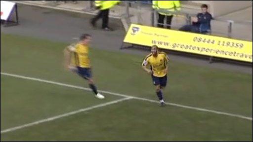 Franny Green celebrates his goal