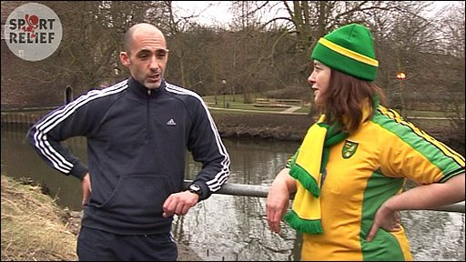 Karen Buchanan with ex-Norwich City player Craig Flemming