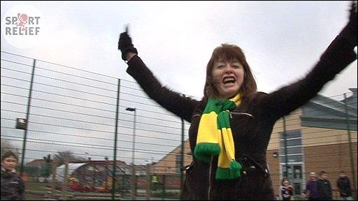 Karen Buchanan celebrates after scoring a penalty