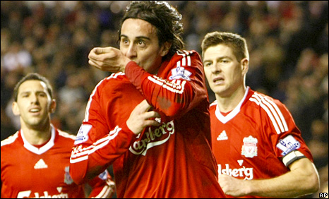 Aquilani scored his first goal for Liverpool