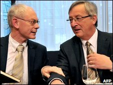 EU president Herman Van Rompuy (L) and Luxembourg Prime Minister and Eurogroup president Jean-Claude Juncker